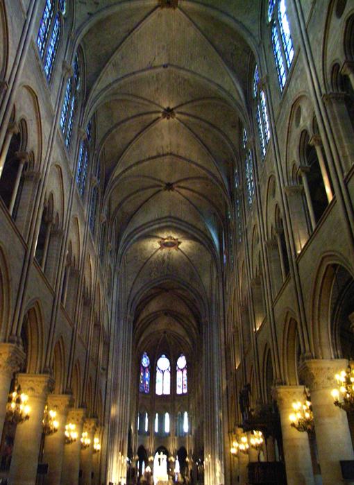 ノートルダム大聖堂のアーチ大空間